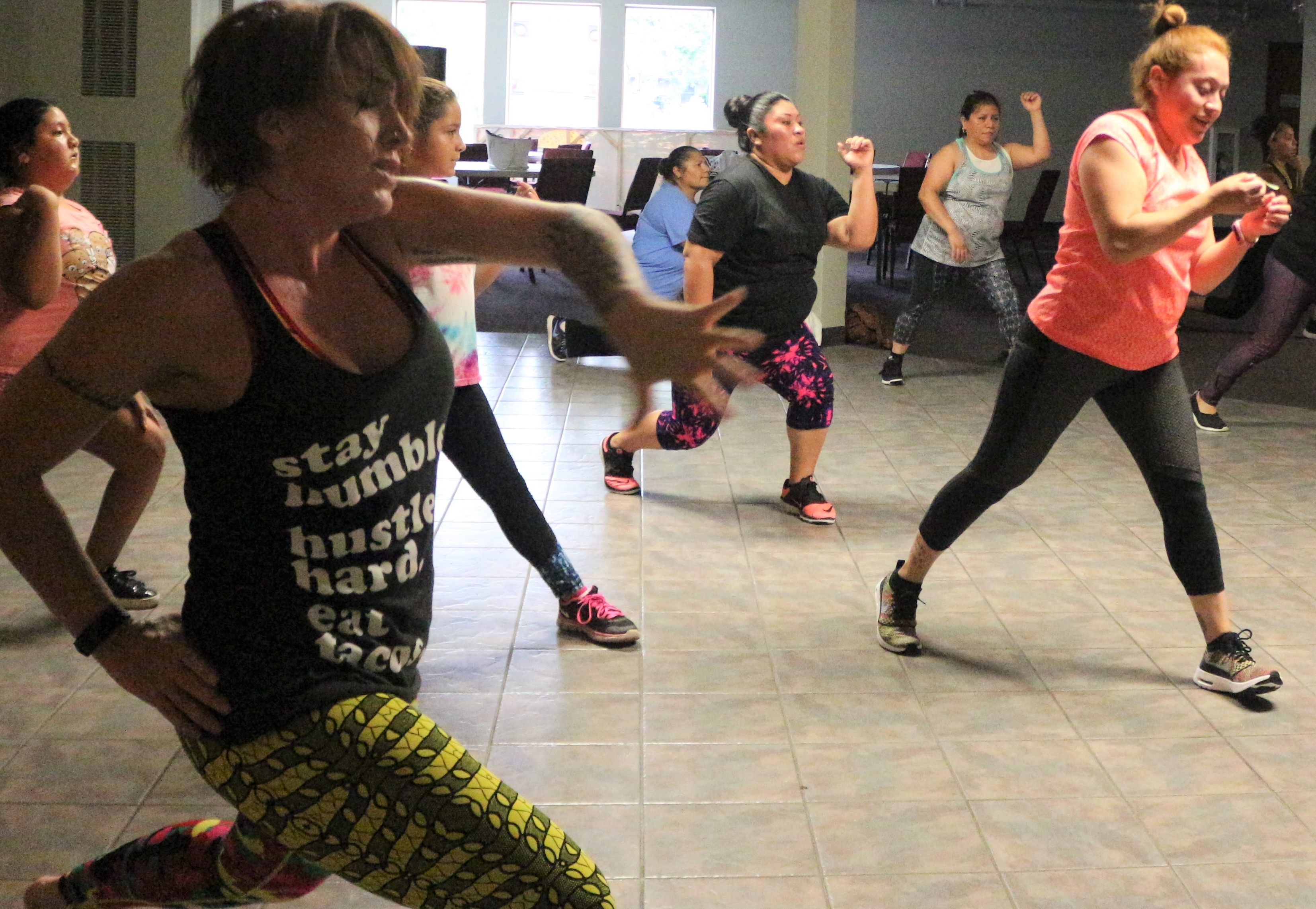 Heather Sand leads a Zumba class