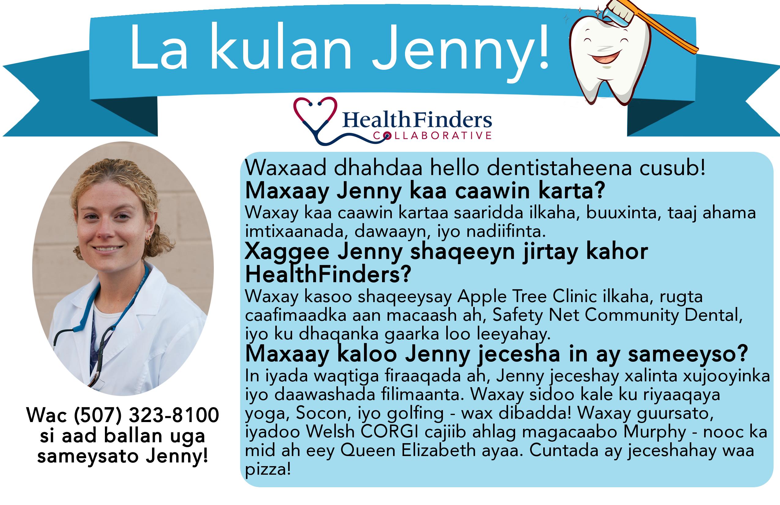 Meet Jenny Berg in Somali text