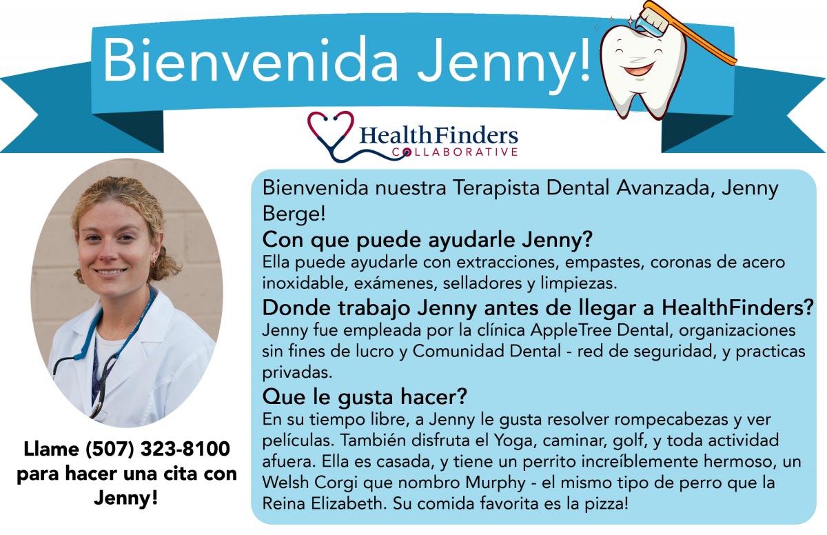 Meet Jenny Berg in Spanish text